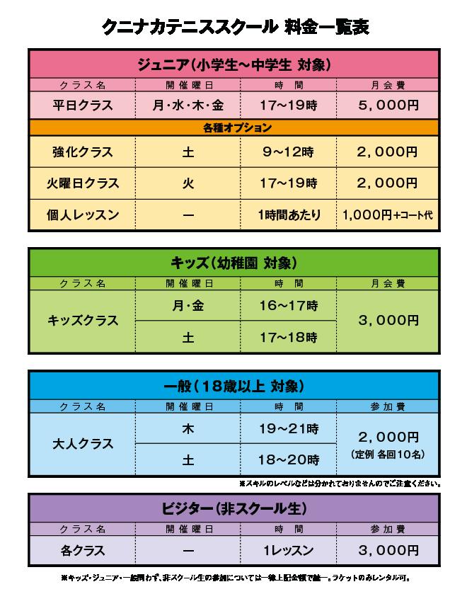 スクールメニュー価格表